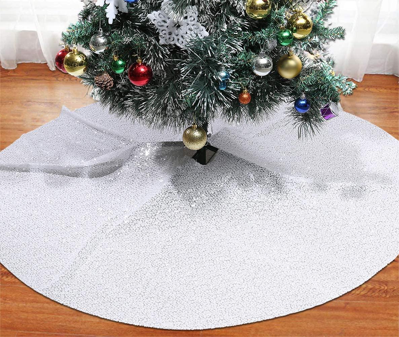 SquarePie Christmas Tree Skirt Sequin Glitter Halloween Decoration 50-Inch White