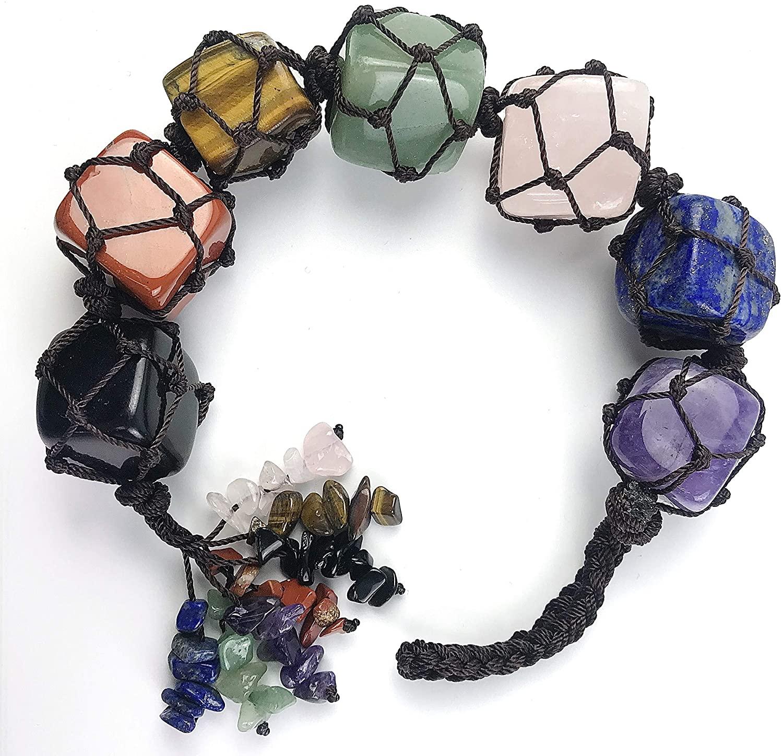 Majorhouse 7 Chakra Gemstones Reiki Healing Crystals Home Indoor Decoration Suitcase Car Pendant Hanging Ornament Gift Yoga Meditation Tumbled Palm Stones