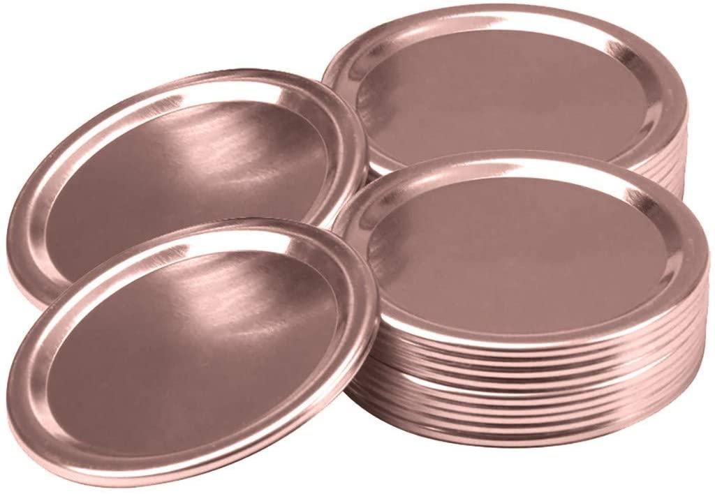 [10PC Jar Lids] Wacinten Canning Lids Mason Jar Lids Regular Wide Mouth, Split-type Lids Leak Proof Secure Canning Jar Caps for Kitchen Storage(86mm Rose Gold)
