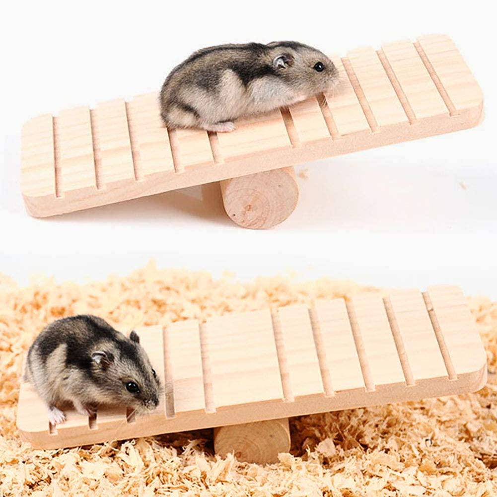 Bullker Kolefei Pet Hamster Wooden Anti-Slip Seesaw Teeterboard Squirrel Toy Cage DIY Ornament for Home