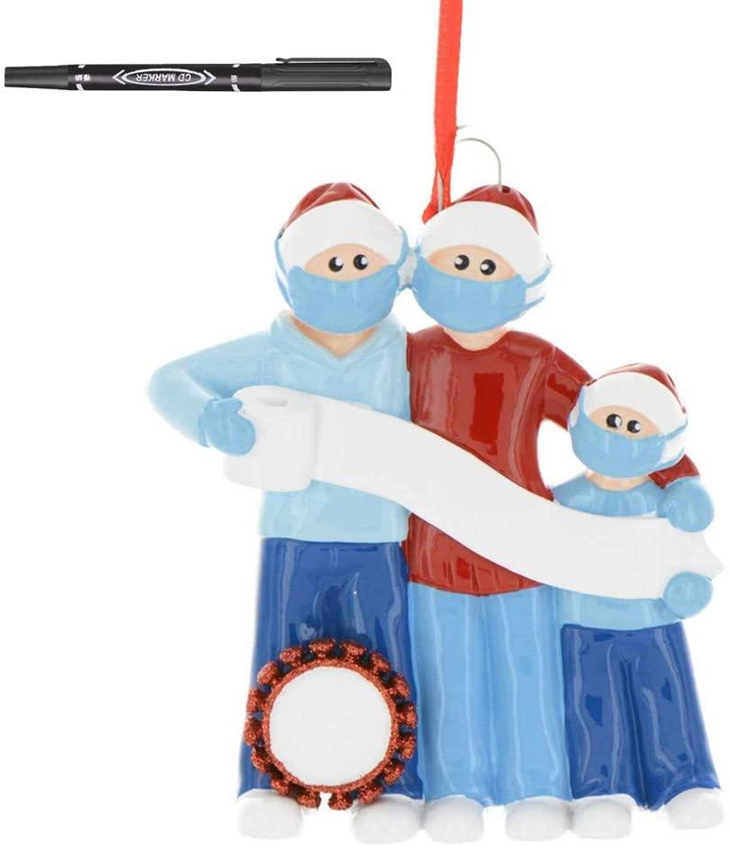 2020 Personalized Name Christmas Ornament kit, Kaitellnie 2020 Quarantine Survivor Family Customized Christmas Decorating Kit Christmas Tree Hanging Ornament Pandemic DIY Creative Gift for Family
