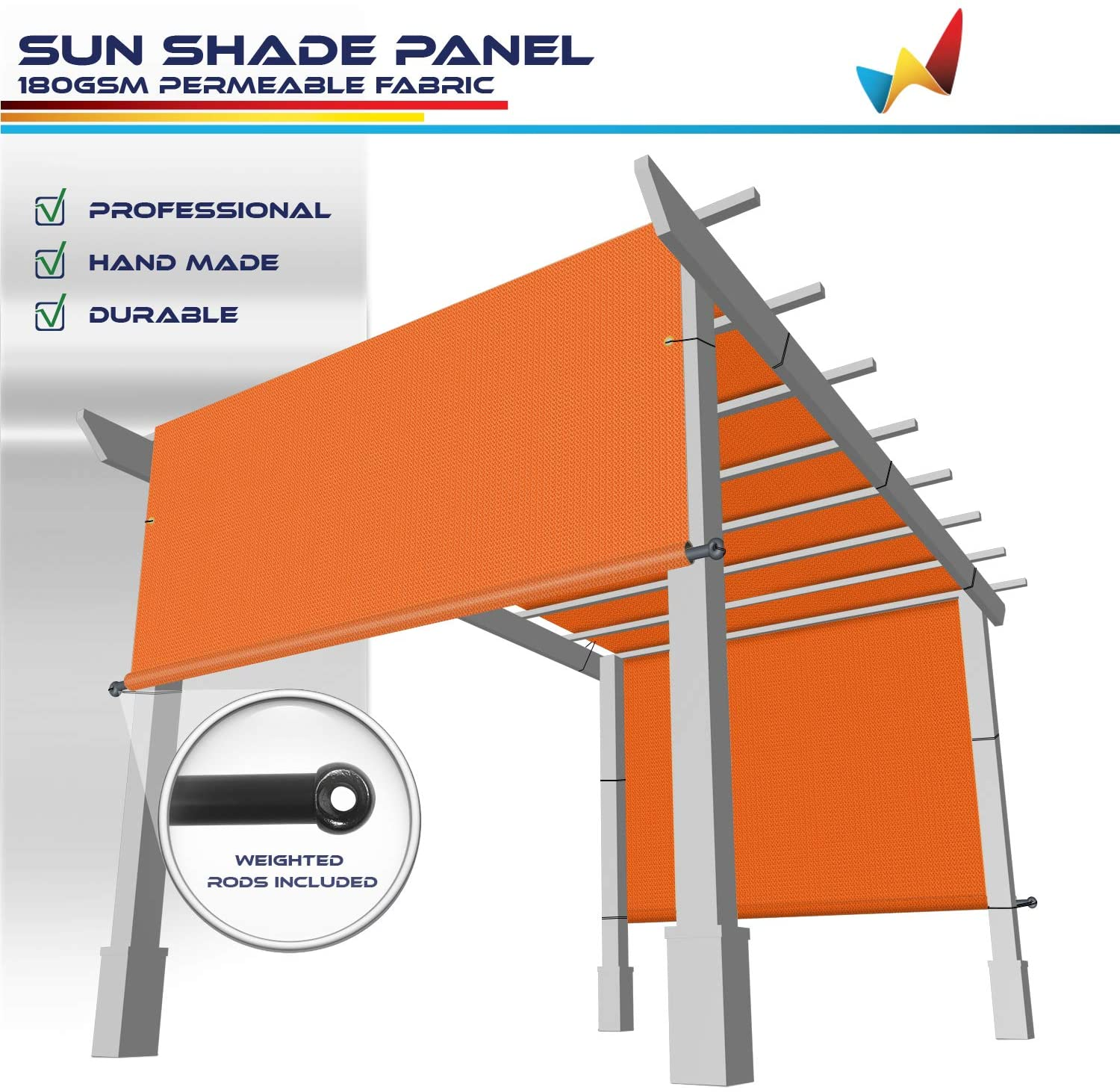 Windscreen4less 9'x16' Outdoor Pergola Replacement Shade Cover Canopy for Patio Privacy Shade Screen Panel with Grommets on 2 Sides Includes Weighted Rods Breathable UV Block Orange