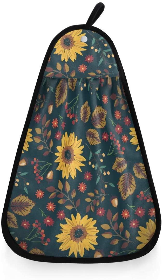 ONELUCA Super Absorbent Hand Towel Vintage Sunflowers Wild Red Floral Kitchen Washcloths Dishcloths Hanging Cotton Wash Towels for Bathroom Showeroom Office 16.5 x 12.2 inch