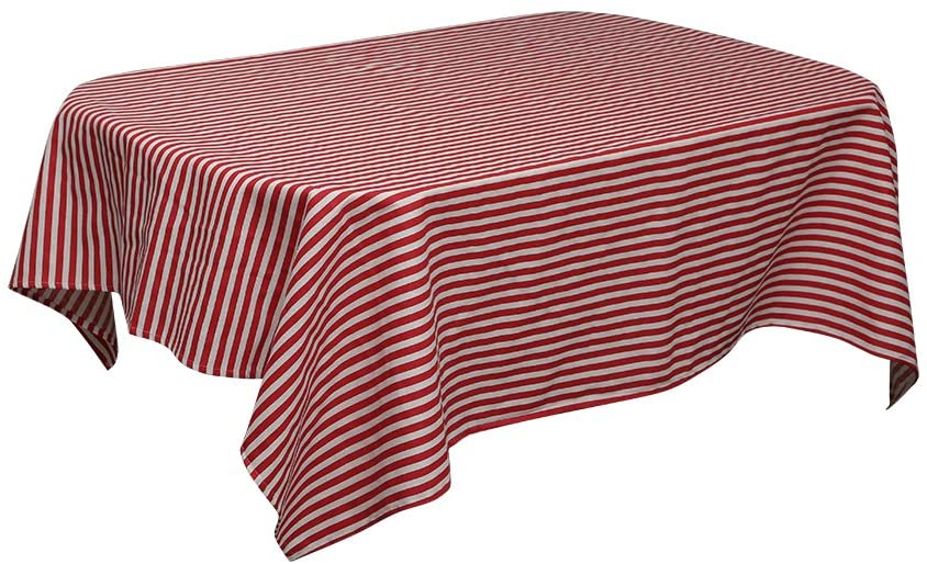 sense gnosis Christmas Decorative Tablecloth Red and White Striped for Rectangle Table Waterproof Oil and Spill Proof Stain Resistant Table Cover for Dining Table 55 x 98 Inch Tabletop Outdoor Picnic