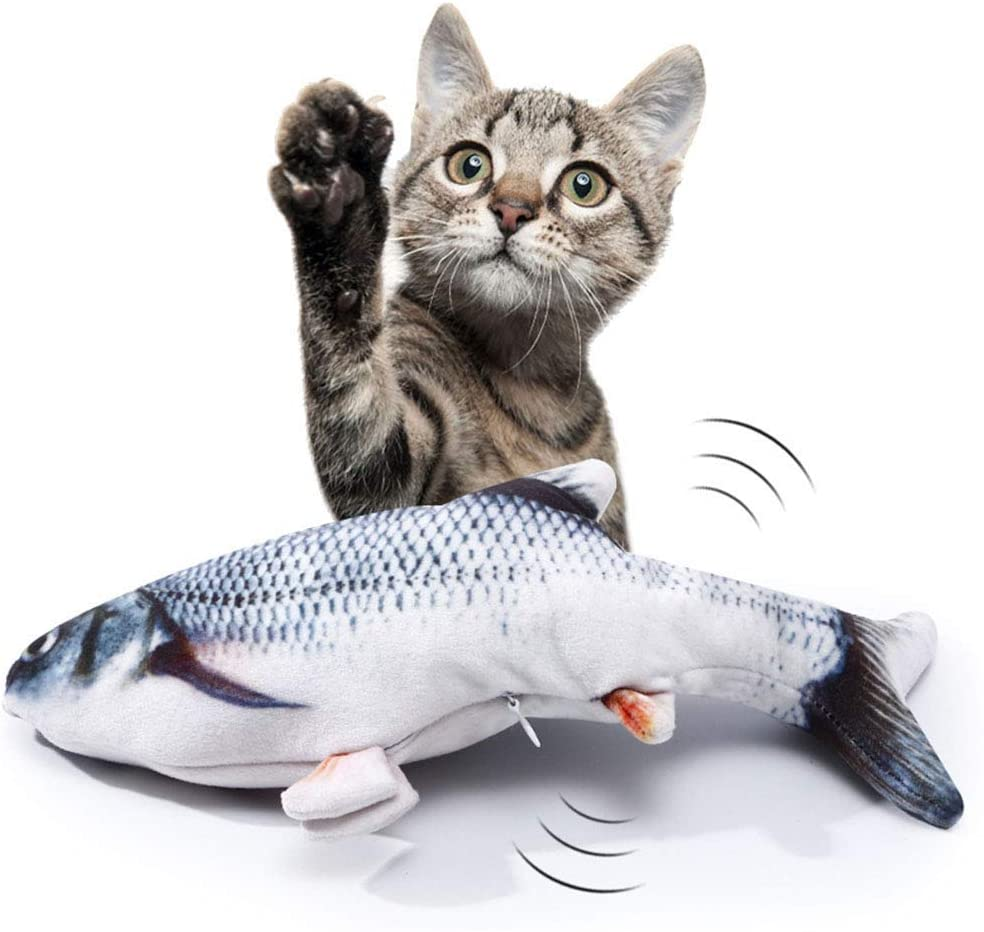 TOYYM Realistic Moving Fish,Electric Flopping Cat Kicker Fish Toy,Wiggle Fish Catnip Toys,Motion Kitten Toy,Plush Interactive Cat Toys,Fun Toy for Cat Exercise,Chewing and Kicking