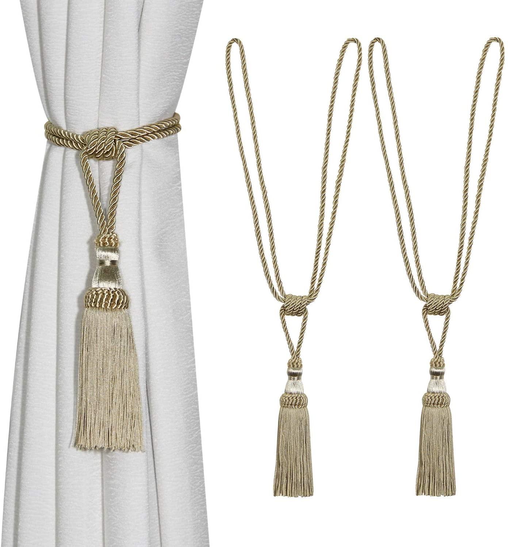 Fenghuangwu 2PCS Curtain Tassel Tiebacks, Beaded Handmade Tassels Curtain Tie-Backs Rope Holdbacks for Home Office Decor-Beige