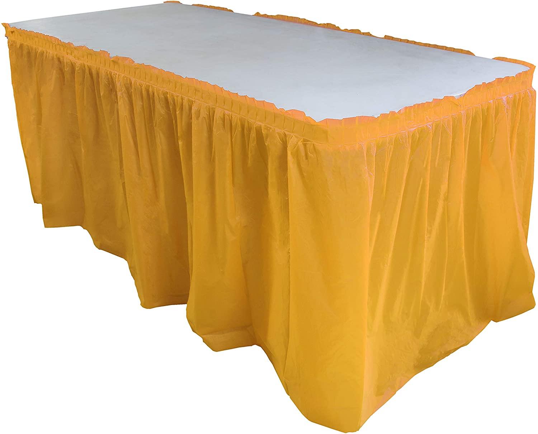 Yellow plastic table skirt