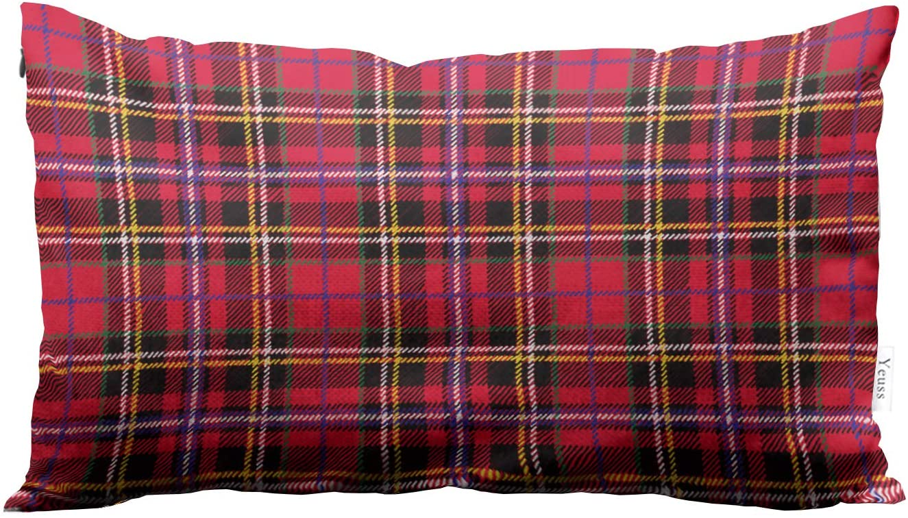 Yeuss Beautify Pillowcase,Traditional Lattice Retro Style. Fashion Illustration, Christmas, New Year Scotland Lattices Texture,Cushion Cover Sofa Deck pillo wslip Cushion Cover,12 x 20