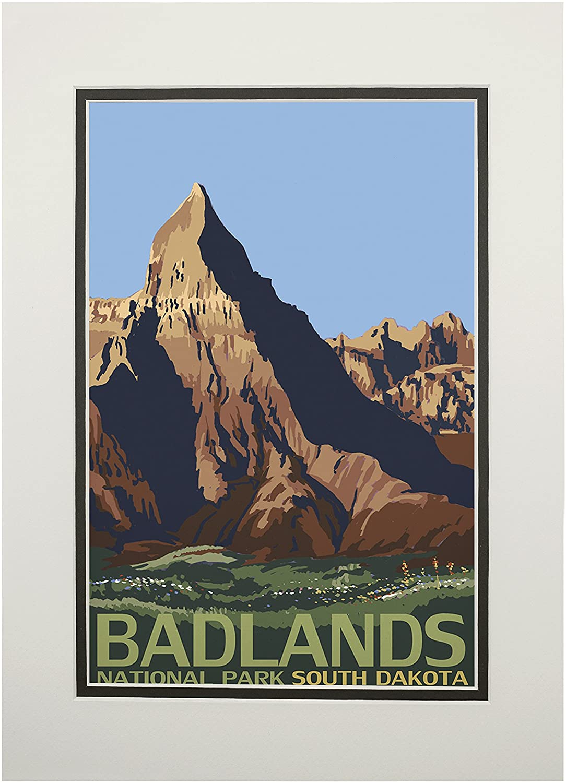 Badlands National Park, South Dakota (11x14 Double-Matted Art Print, Wall Decor Ready to Frame)