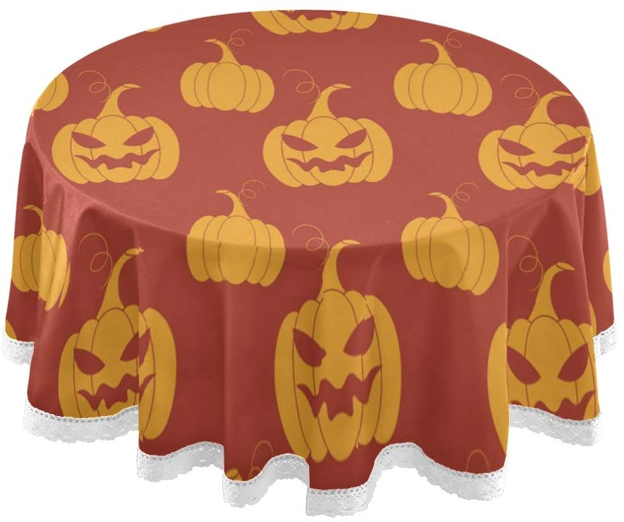 STAYTOP Round Halloween Tablecloth 60 Inch, Removable Washable and Reusable for Holiday Party Restaurant Kitchen Decoration- Halloween 22Lace Table Cover