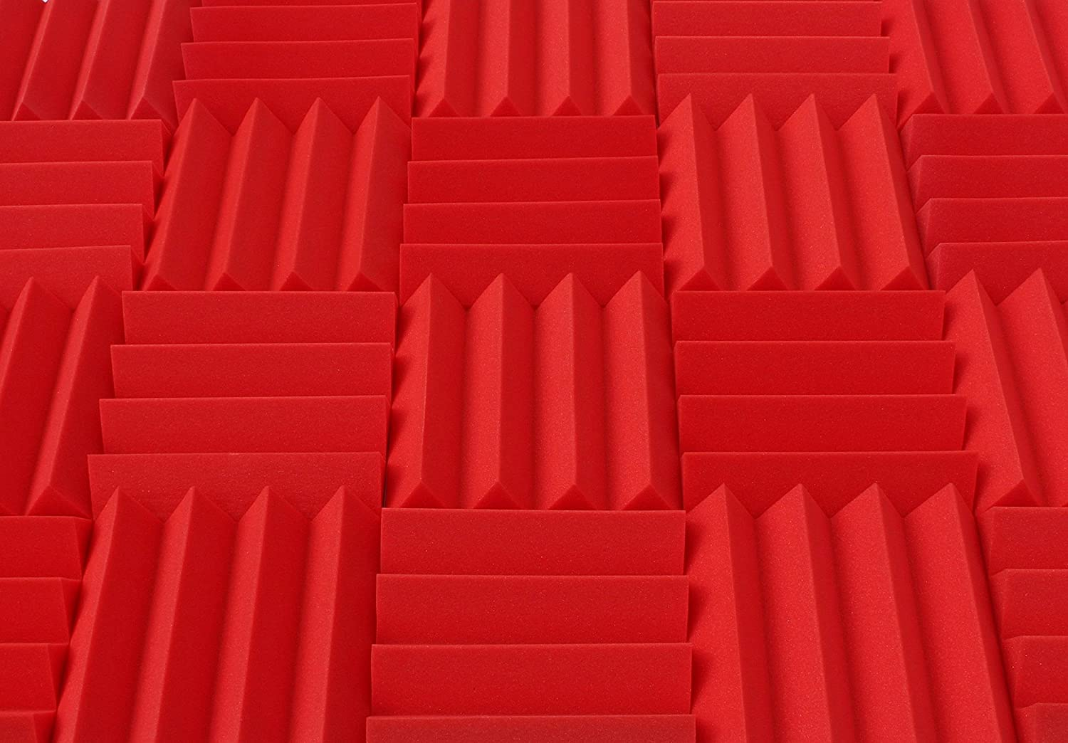 Wedge Style Acoustic Foam Panels 2 Pack - 12in x 12in x 3 Inch Thick Tiles - Soundproofing Acoustic Studio Foam - Red Color