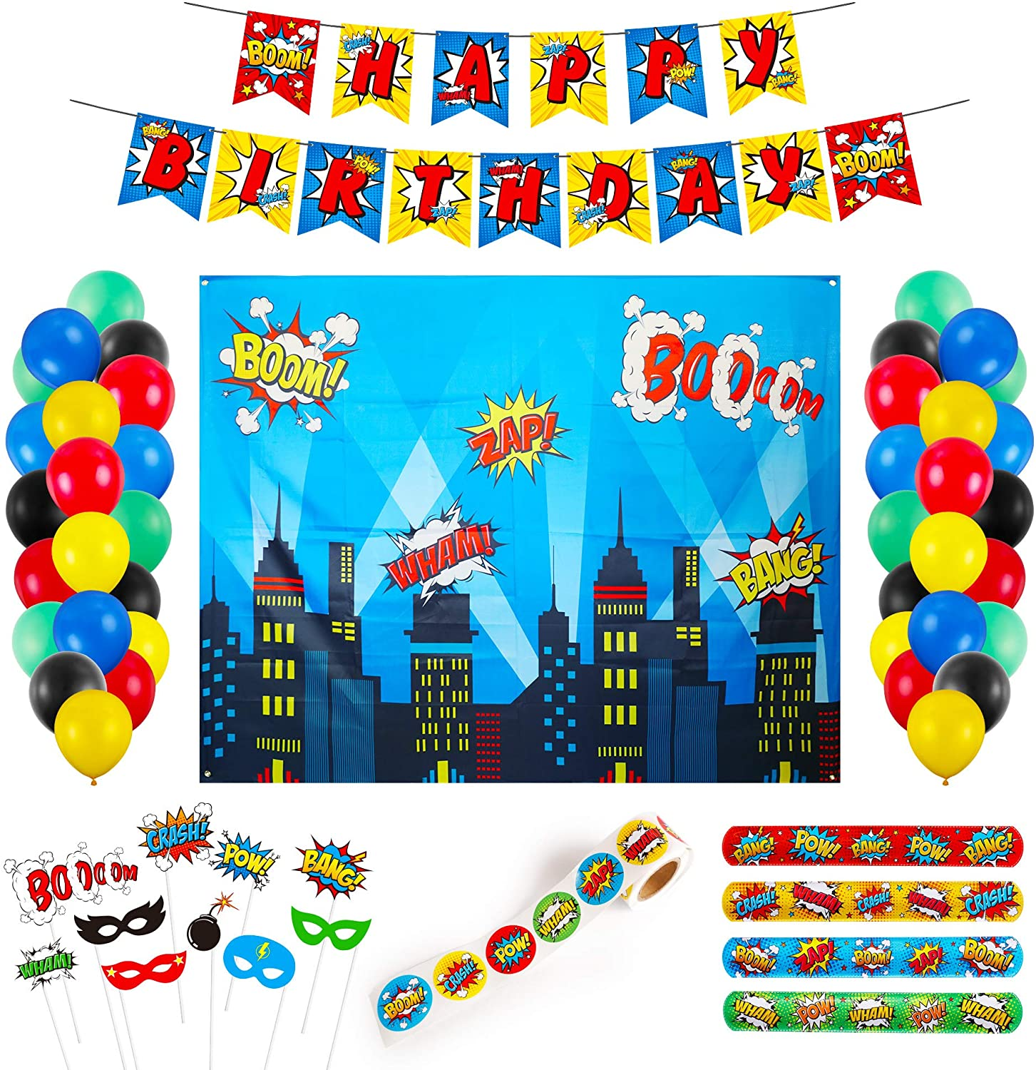 Decorlife Superhero Party Supplies, Birthday Party Decorations for Kids, Total 89PCS, Including Slap Bracelets, 6.4 x 4.9ft Superhero Backdrop, Stickers, Photo Booth Props, Happy Birthday Banner, Latex Balloons