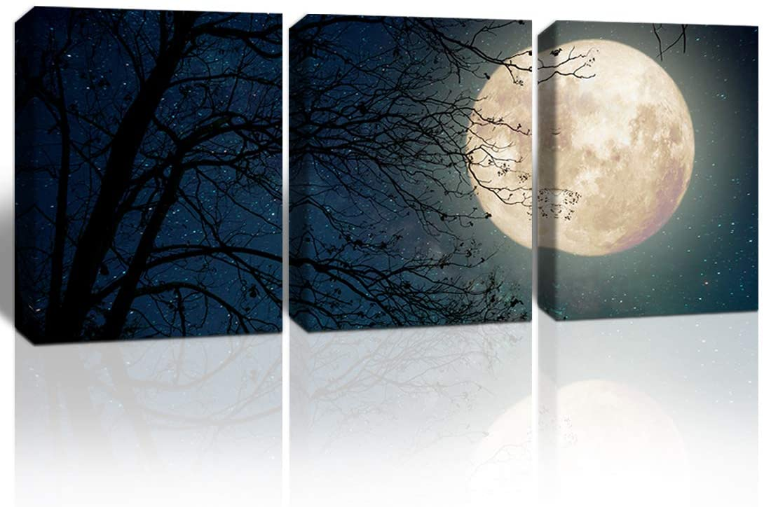 Gardenia Art Full Moon and Old Tree giclee Pictures Canvas Wall Art Home Decorations for Bedroom Living Room Bathroom Wall Decor 12x16 inches/Set 3 PCS Stretched and Framed