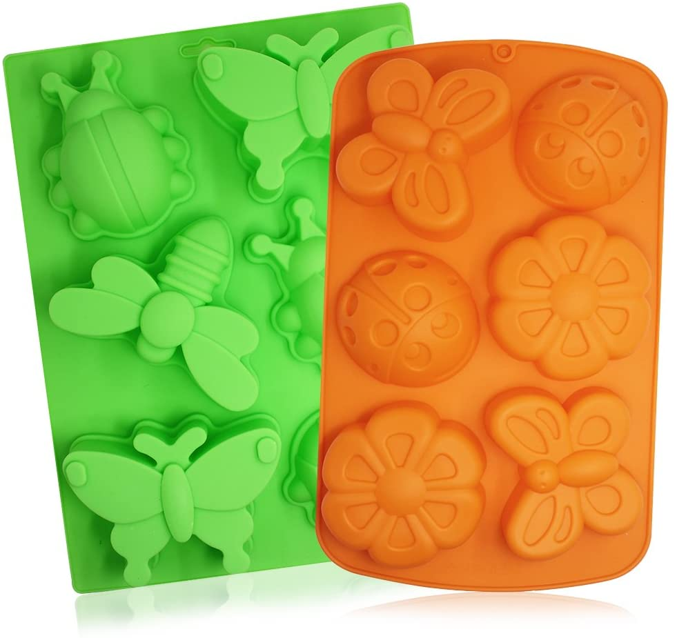 2 Pcs Insect shape Silicone Trays, SENHAI 6-Cavity 3D Dragonfly Butterfly Ladybug shape Cake Baking Molds, DIY Soap Handmade Muffin Biscuit Cookie Pans - Orange, Green