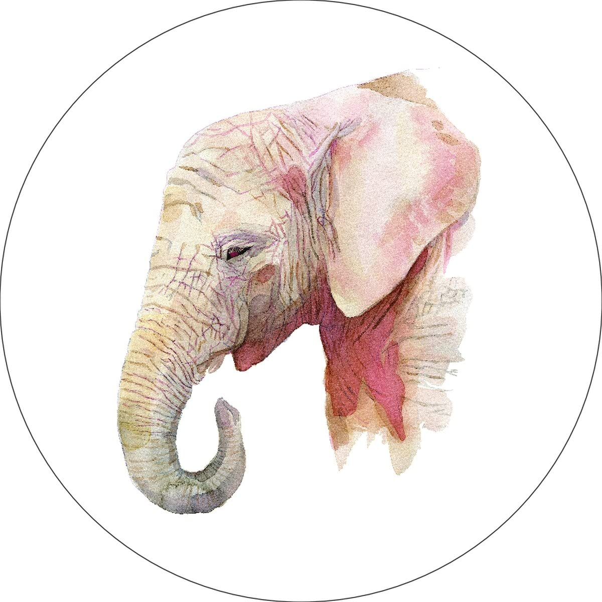 iCandy Products Inc Elephant Home Wall Shelf Decor Animal Decorations Watercolor Circle Sign - 9 Inch, Metal