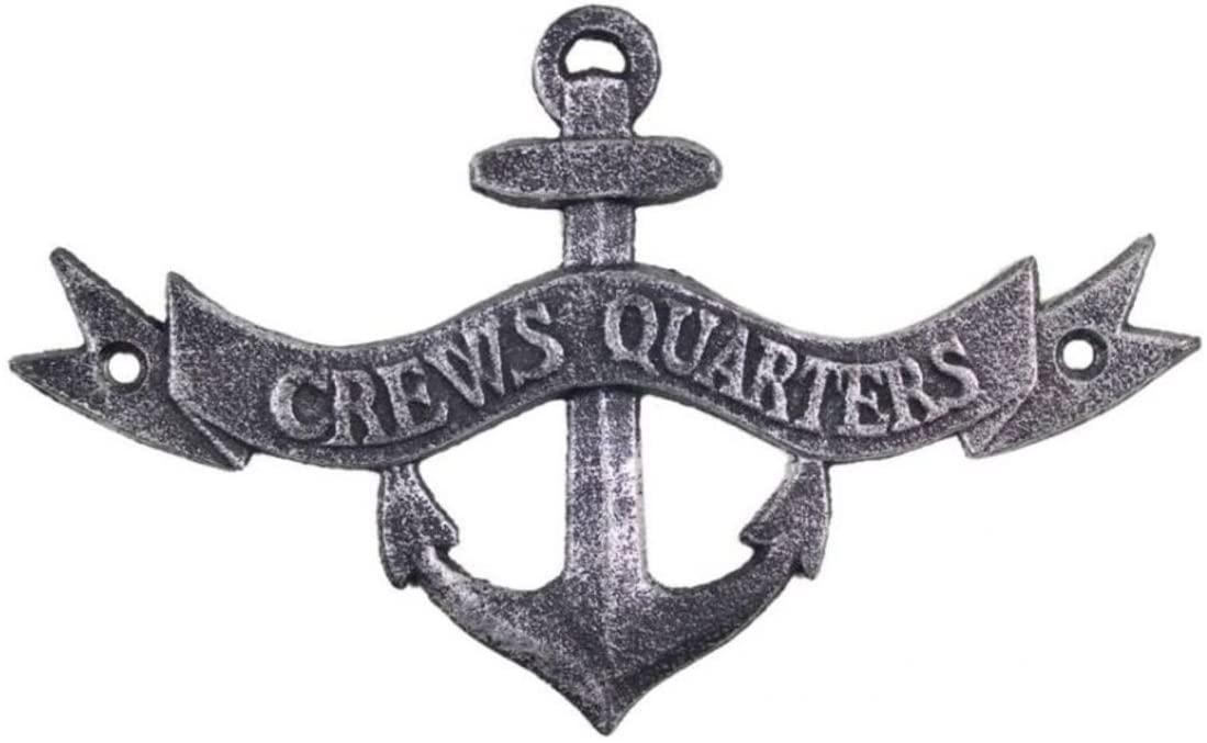Hampton Nautical Antique Silver Crews Quarters Anchor Sign 8