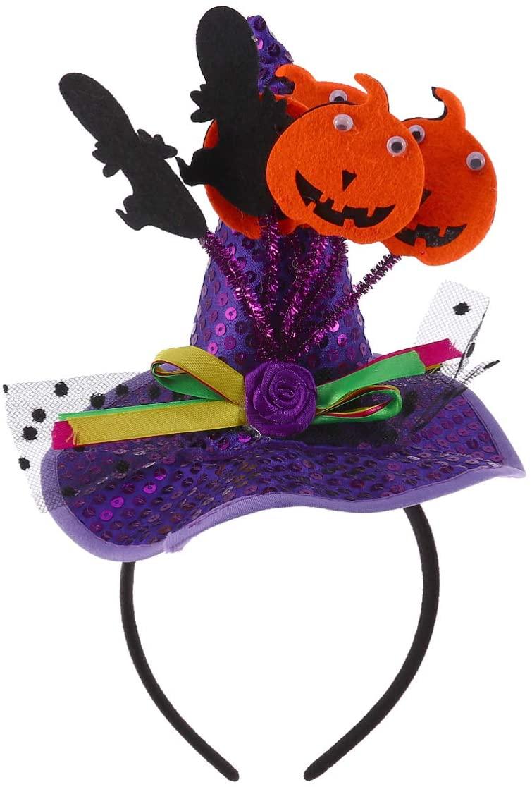 BESTOYARD Halloween Witch Hat Headband Pumpkin Sequin Witch Witch Hair Hoops Halloween Hair Accessories Kids Dance Party Cosplay Supplies