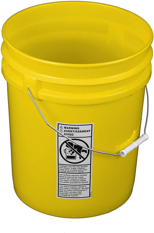 Yellow 5 Gallon Bucket; Heavy Duty 90 mill.
