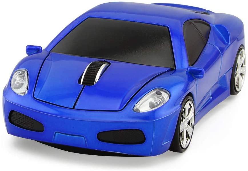 ECOiNVA Wireless Sports Car Mouse Optical 2.4G Nano USB AA Battery Desktop Laptop Mice (Blue)