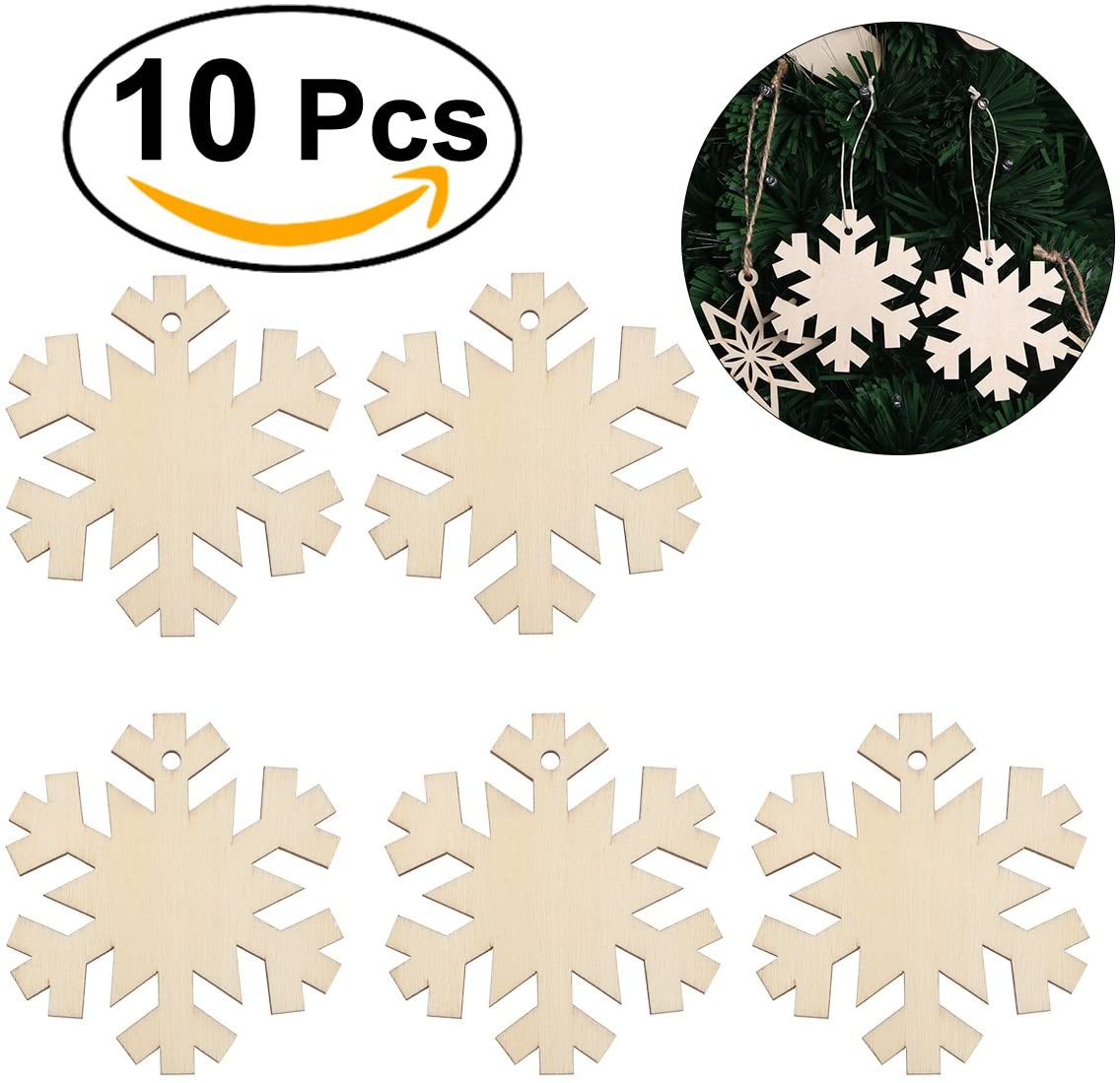 OULII Christmas Snowflake Wooden Hanging Ornaments Embellishments for Christmas Tree Home Decoration 10pcs