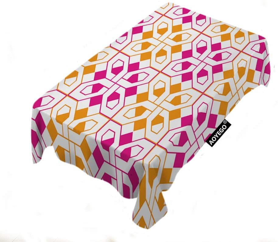 AOYEGO Geometric Tablecloths Line Grid Striped Square Triangle Mesh Hexagon Color Pink Orange Table Cloths Rectangle Decoration 60X90 Inch Polyester for Cafe Family Kitchen Outdoor