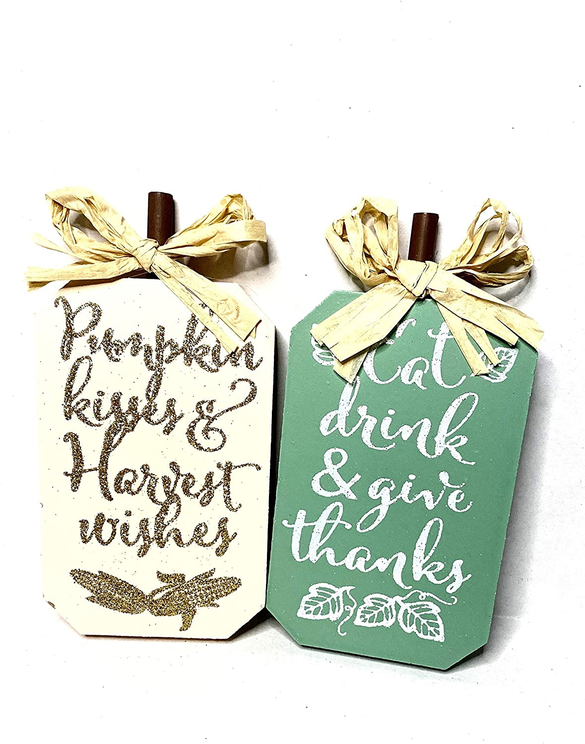 WTM- Miniature Fall Wooden Sign (2) Autumn Harvest Thanksgiving Holiday Table Signs Décor Decorations Bundle with a Touch of Fall- Each 3.5 x 5.25 inches