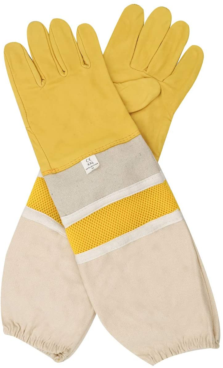DZXZY Professional Beekeeping Gloves Hornets Glove Premium Goatskin Leather Beekeeing Supplies with Long Canvas Protective Vented Sleeves & Elastic Cuffs for Beekeeper-XXL