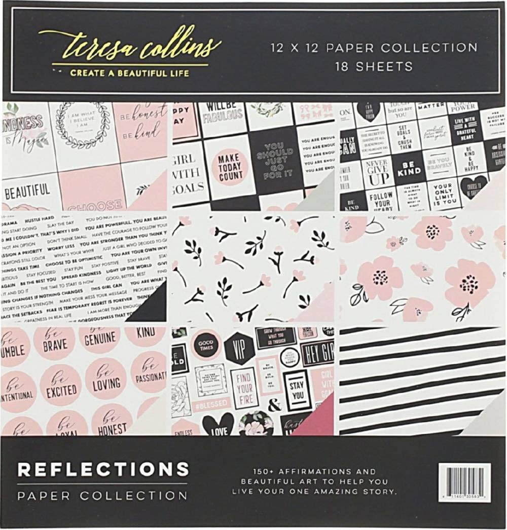 Teresa Collins, Cardstock Paper Collection, Assorted Scrapbook Supplies, 12 x 12 - Reflections, Pack of 18