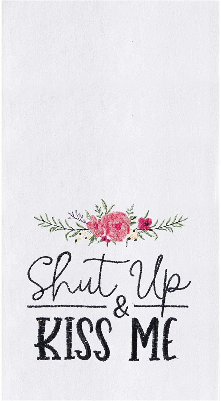 C&F Home Shut Up & Kiss Me Kitchen Towel Flour Sack Kitchen Towel White