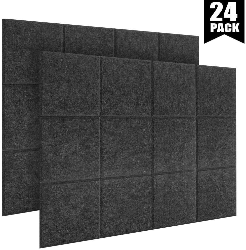 DEKIRU 24 Pack Acoustic Panels, 12 X 12 X 0.4 In Sound Proofing Studio Foam Padding High Density Bevled Edge Tiles Soundproofing Panels, Great for Wall Decoration and Acoustic Treatment(sesame black)