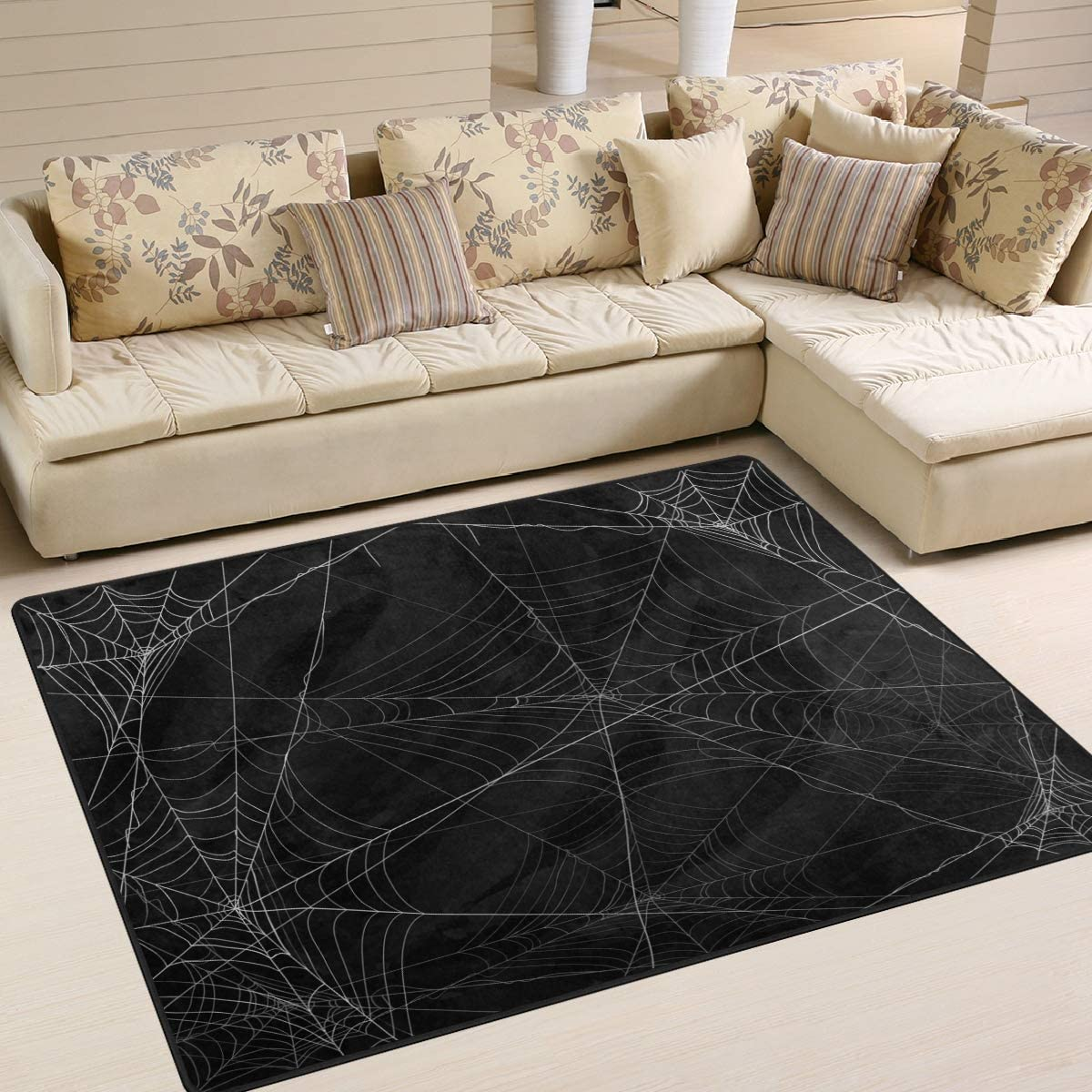 ALAZA Spider Webs Halloween Abstract Black Area Rug Rugs for Living Room Bedroom 7' x 5'