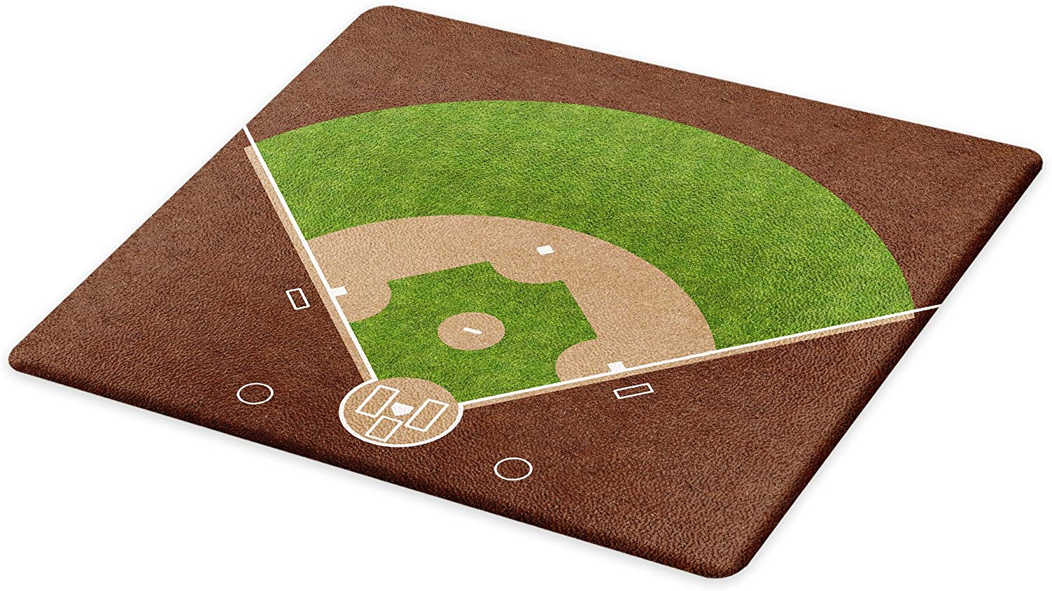 Lunarable Sports Cutting Board, American Baseball Field with White Markings Painted on Grass Print, Decorative Tempered Glass Cutting and Serving Board, Large Size, Lime Green Chocolate Tan