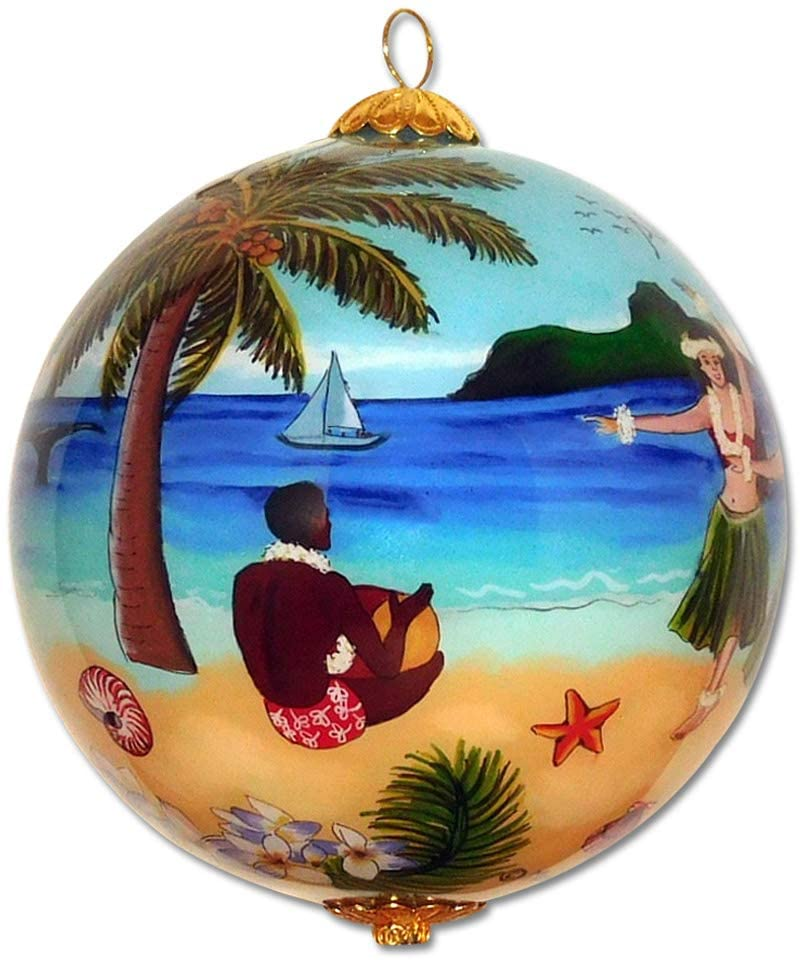 Maui by Design Collectible Handpainted Hawaiian Hula in Paradise Glass Ornament with Gift Box HU/H