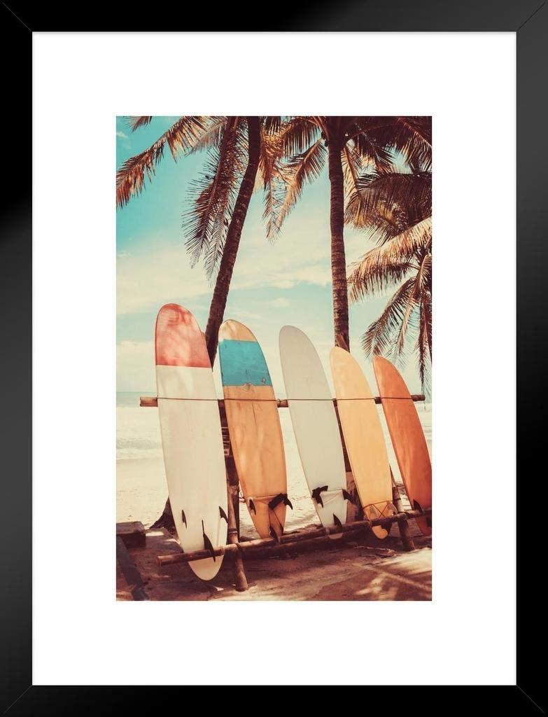 Poster Foundry Surfboard Palm Tree Beach Surfer Surfing Photo Photograph Summer Matted Framed Wall Decor Art Print 20x26