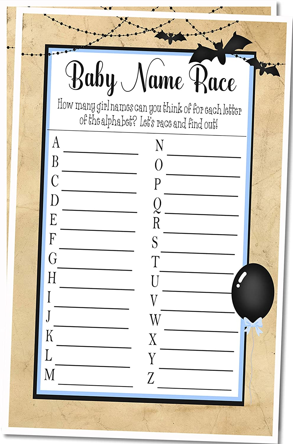 Boys Halloween Baby Name Race Baby Shower Game - Set of 25