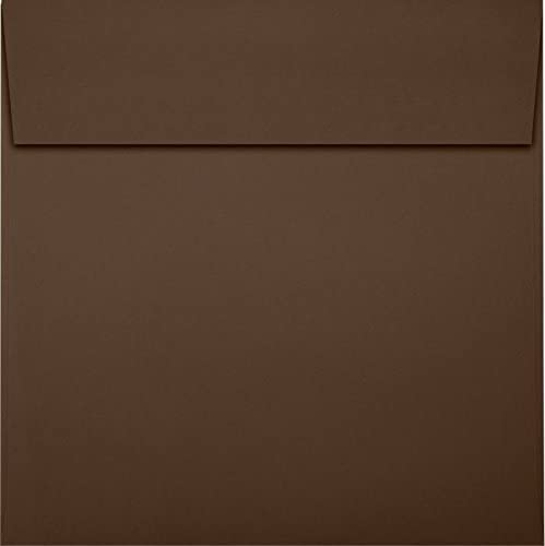 LUX Paper Square Invitation Envelopes for 6 1/4 x 6 1/4 Cards in Chocolate, Printable Envelopes for Invitations, with Peel & Press Seal, 50 Pack, Envelope Size 6 1/2 x 6 1/2 (Brown)