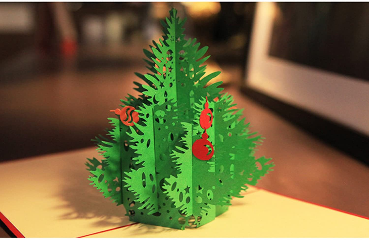 Nacodex Handmade Christmas Cards for Kids and Family, 3D Merry Christmas Tree, Mother's Day Card, Springtime Card, Birthday Card for Mom, Wife, Kids, Boy, Girl, Friend (Christmas tree-Red-1229)
