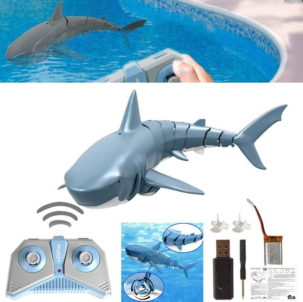 Mini RC Fish Shark Boat, RC Boat 2.4G Remote Control Electric Racing Boat Simulation Shark Toy USB Rechargeable for Swimming Pool Toy