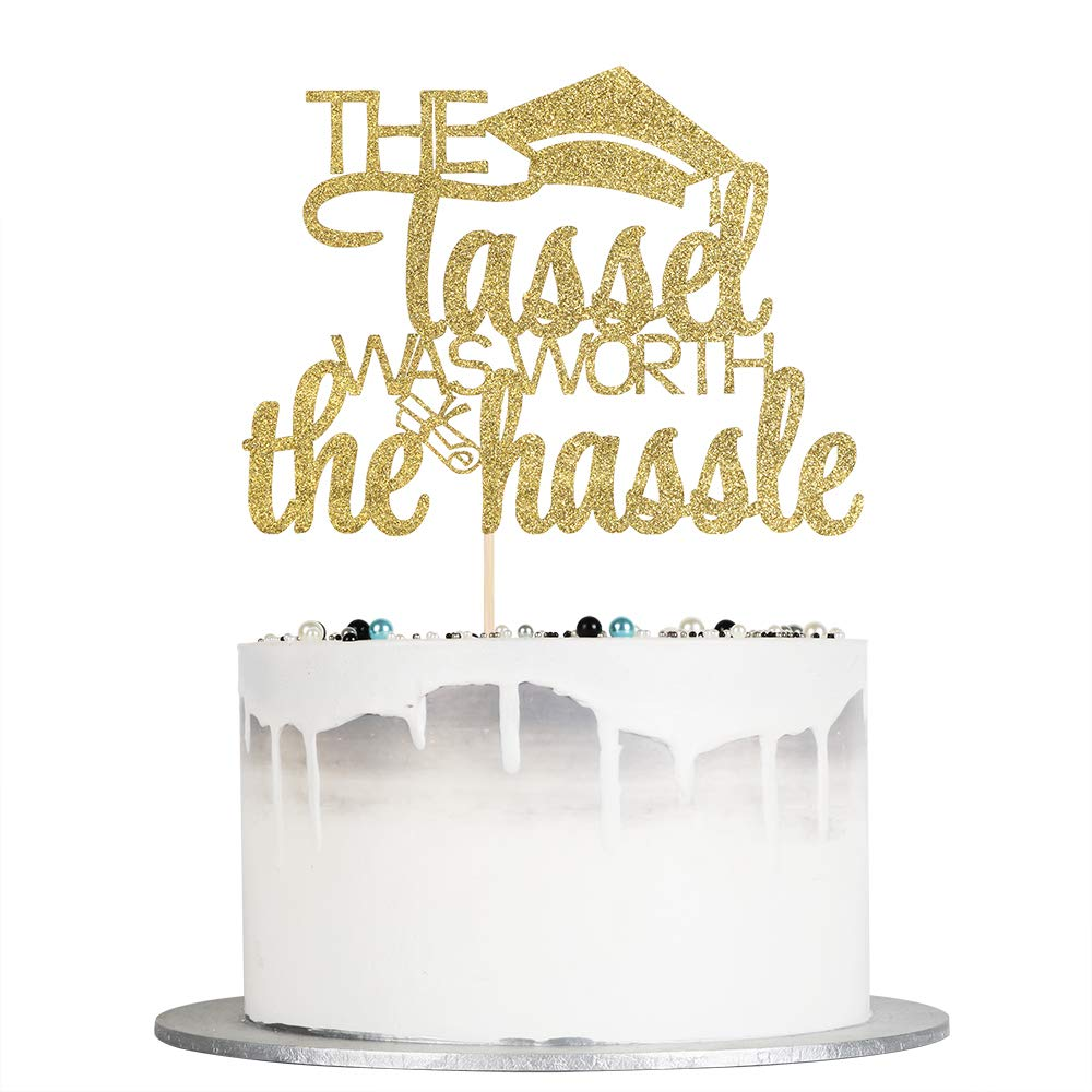 Auteby The Tassel Was Worth The Hassle Cake Topper - Gold Glitter 2020 Graduation Cake Topper for Congrats Grad Party Decorations Supplies (gold)