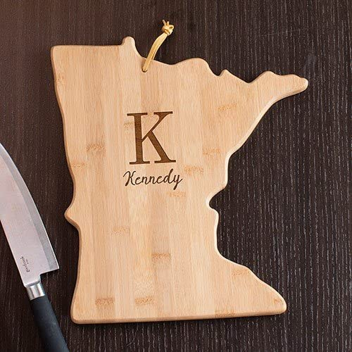 Personalized Family Initial Minnesota State Cutting Board, 12x13, Bamboo