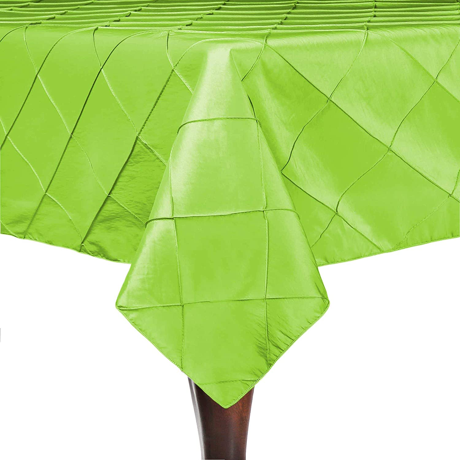 Ultimate Textile -10 Pack- Embroidered Pintuck Taffeta 60 x 90-Inch Rectangular Tablecloth Apple Lime Green