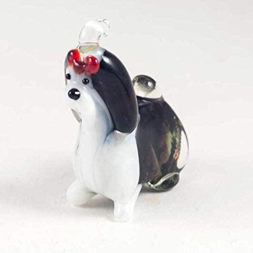 Dog Shih Tzu Small Glass Figurine Hand-Blown Art Collectible Figures