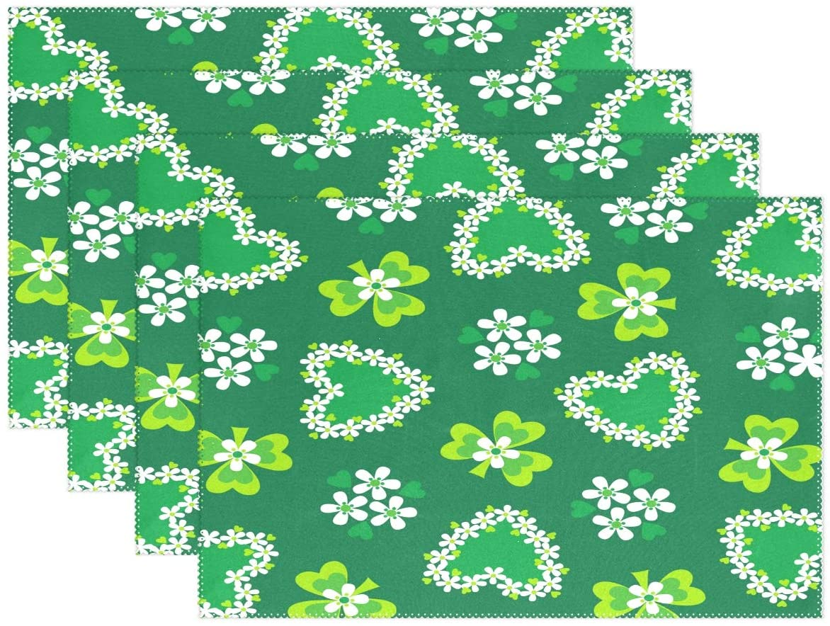 WOOR Shamrocks and Green Hearts Placemats for Dining Table Heat Resistant Kitchen Table Decor Washable Table Mats Set of 6