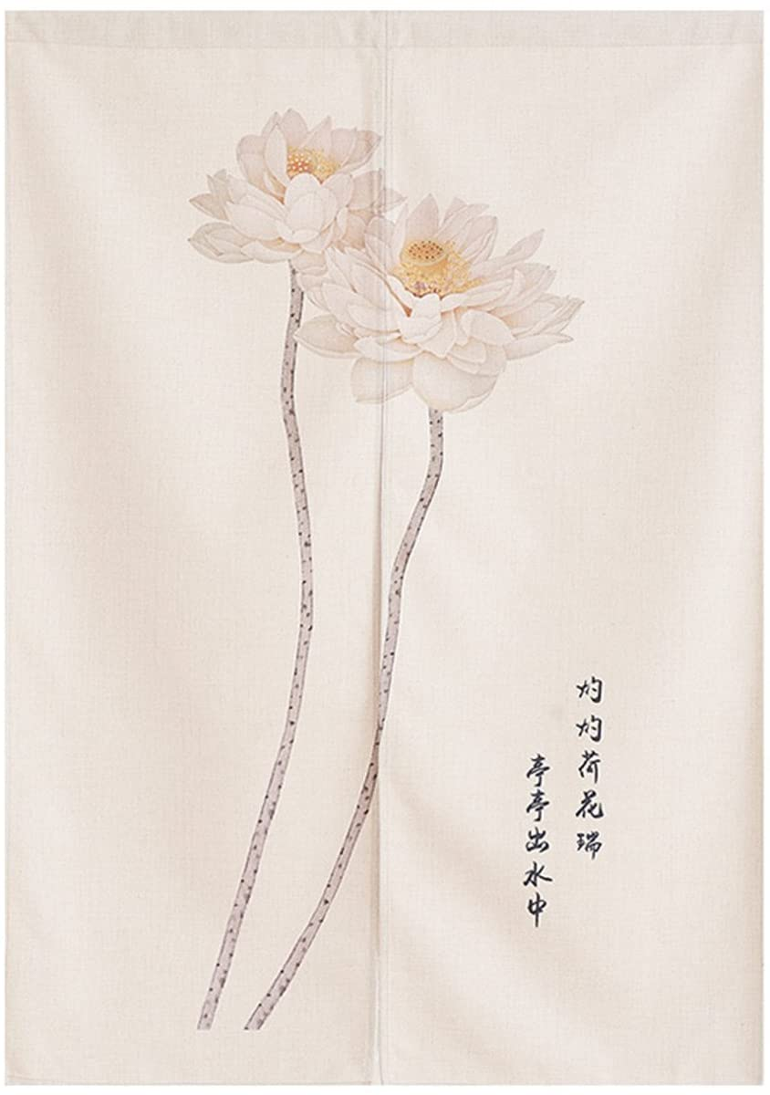 BAIHT HOME Cotton Linen Japanese Noren Curtain Tapestry Doorway Curtain Kitchen Curtains Chinese Lotus Deaign 33.5 x 47.2