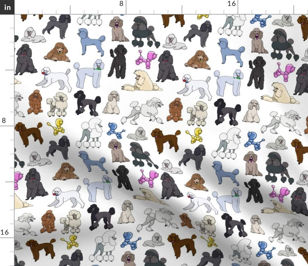 Spoonflower Fabric - Poodles White Dogs Animals Decor Printed on Petal Signature Cotton Fabric by The Yard - Sewing Quilting Apparel Crafts Decor