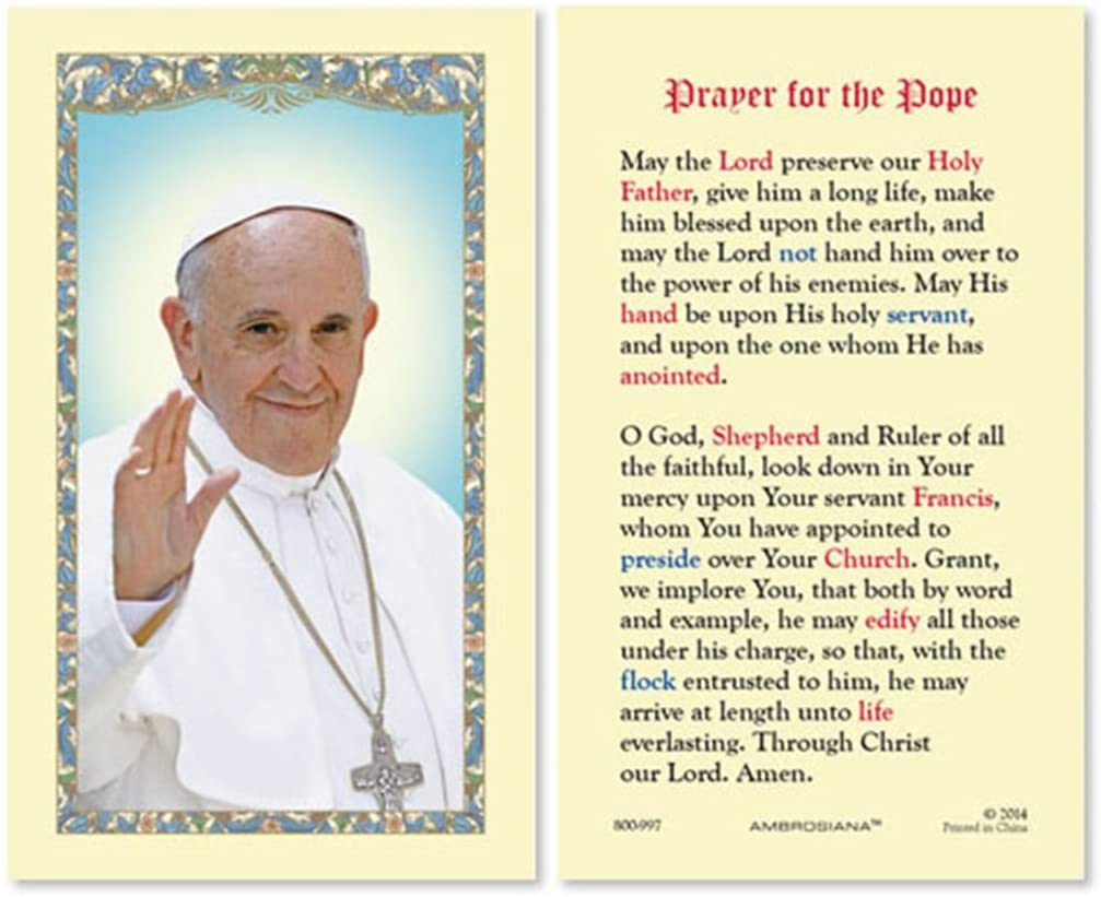 Prayer for the Pope Francis Laminated Cardstock Catholic Holy Card, 4 3/8 Inch