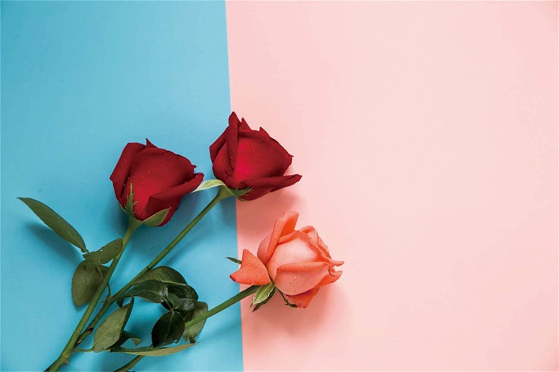 Leowefowa Graceful Valentine's Day Backdrop 7x5ft Red Orange Rose Flowers Blue Pink Vinyl Photography Background Lovers Wedding Bridal Shower Party Banner Proposal Wallpaper Greeting Card