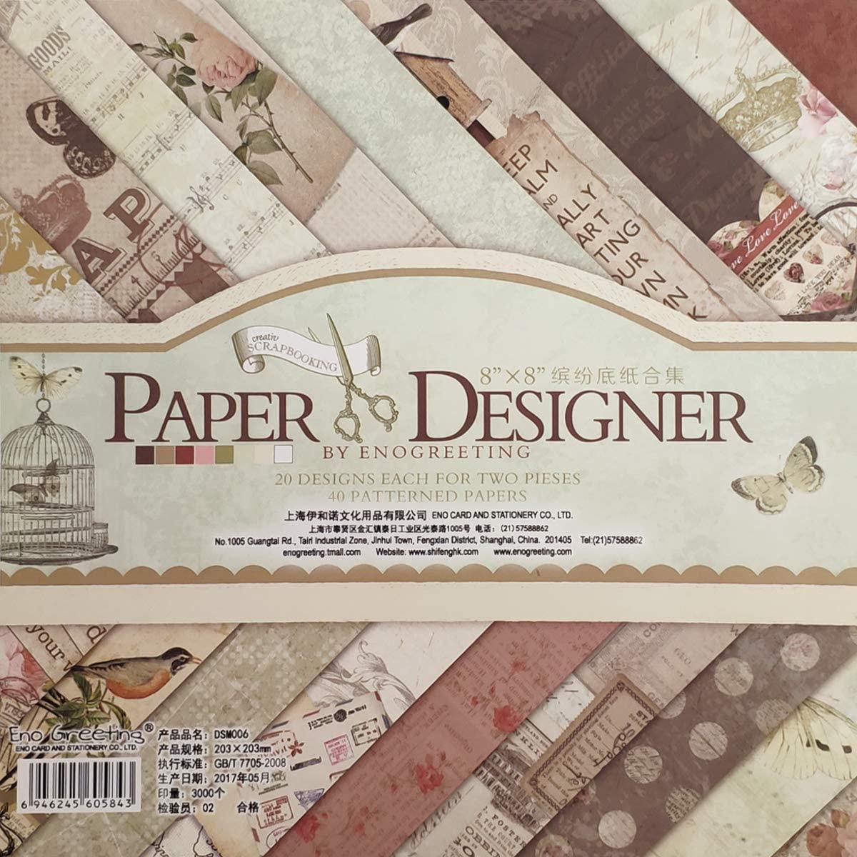 "Gnognauq 40Pcs Multi-Colored Designer Paper Decorative Craft Paper for Creative Scrapbooking and Cards,8''X8"" (006)"