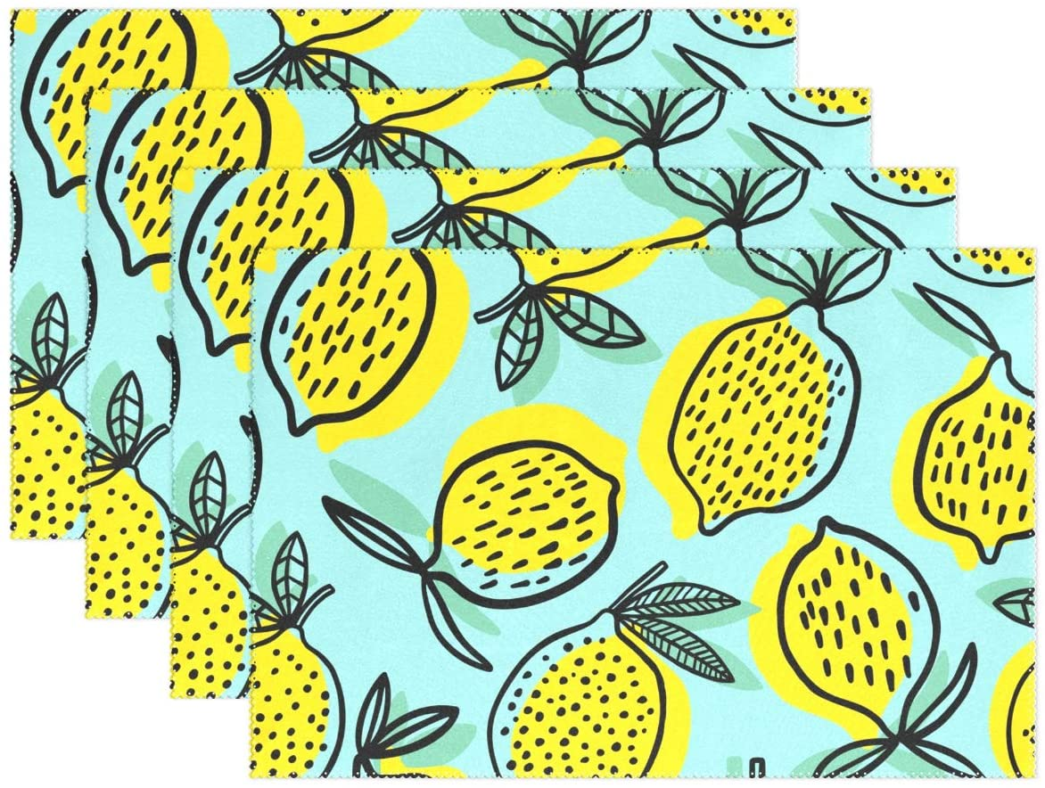 Aflyko Lemon Placemat Dining Table Mats Set of 4 Table Decor 18