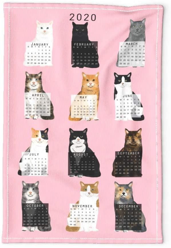 Roostery Spoonflower Tea Towel 2020 Cat Calendar Cat Lover Gift Pink Linen Cotton